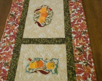 Fall Decor/ Fall Table Runner/ Table Runner/ Small Quilt/ Jacobean Embroideried Table Runner