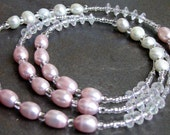 Pink Sparkly Freshwater Pearl Eyeglass Lanyard Loop - Name Badge or ID Holder - Key Necklace - Eyeglasses Chain Key - Gift Fashion Accessory