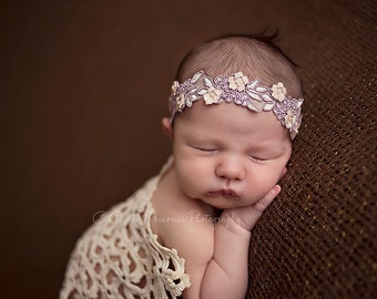 Newborn Headband, Newborn Photo Prop, Embellished Embroidery Headband, Newborn Flower Halo Headband, Ready to Ship