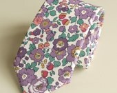 Liberty print tie handmade from cotton lawn   Betsy purple tie  Floral tie  wedding tie  Liberty tie  purple floral tie