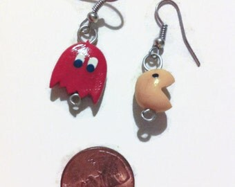 Pac-Man Earrings, Video game jewelry, polymer clay charms, geekery, gag gifts, gift ideas, stocking stuffers, pac man charms, arcade games