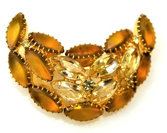 Crescent Brooch Amber and Yellow Glass Cabochon Rhinestone pin