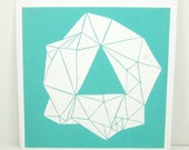 linocut - EMERALD - 12x12 / printmaking / block print / turquoise, blue / gemstone / geometric art / contemporary