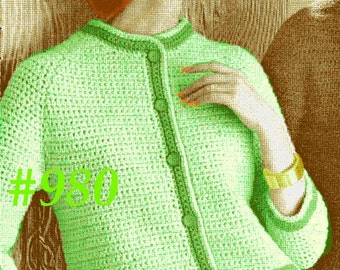 Almost FREE Vintage 1960s Mod Raglan Cardigan Sweater Accented with Color Bands  & Pocket Flaps 980 PDF Digital Crochet Pattern