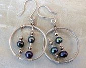 Art Deco Hoop Earrings,  Handmade Sterling Silver Hoops Wire-Wrapped with Peacock Pearls
