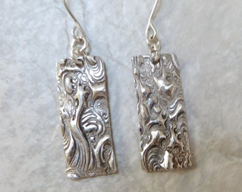 Handmade Textured Dangle Earrings, White Bronze Rectangles with Cloud Pattern & Sterling Silver Ear Wires