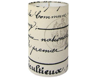 Custom Lamp Shade - Script Lampshades - Penmanship by Premier Prints in Onyx Natural - French Script - Made to Order
