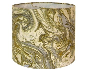 Custom Lamp Shade - Marbled Lampshade - Duralee Marbleized in Gold and Silver - Fabric Lamp Shades - Metallic Lampshade - Made to Order