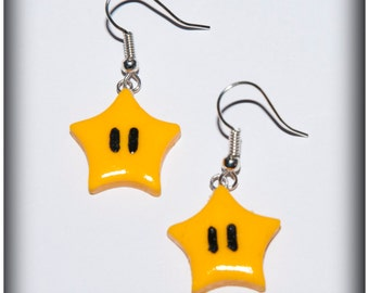 Super Mario Star Earrings in polymer clay
