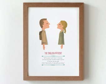 Illustration. The english patient. Anthony Minghella Print. Wall art. Art decor Hanging wall Printed art Decor home. Gift idea. Sweet home.