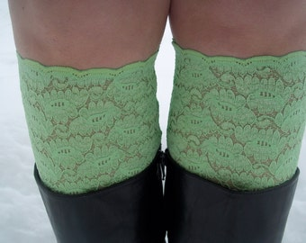 Green Lace Boot Cuff,  Green Leg Warmers,  Boot Toppers with Stretch Lace, Trim, for Women and Teens in green