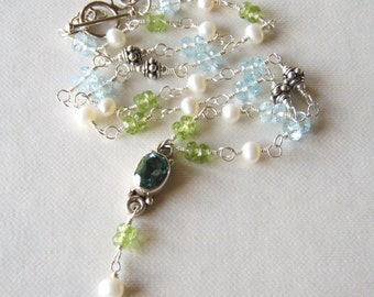 Blue topaz necklace with peridot, sterling silver jewelry