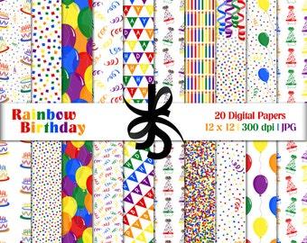 Digital Scrapbook Papers-Rainbow Birthday-Clipart-Rainbow Papers-Birthday Papers-Birthday Invitations-Backgrounds-Instant Download Clip Art