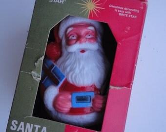 Vintage Roly Poly Santa Claus in Original Box Made by Brite Star Made in Hong Kong Roly Poly Santa Small Hard Plastic Santa Santa Tumbler