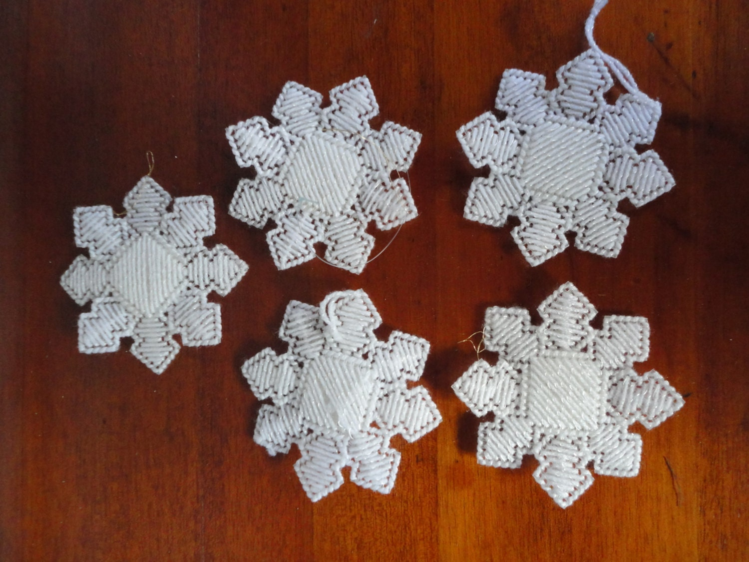 Vintage Plastic Canvas White Snowflakes Handcrafted Lot Of