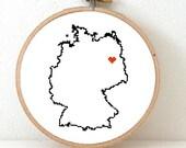 Germany Map Cross Stitch Pattern. German Needlepoint pattern highlighting Berlin. European decor.