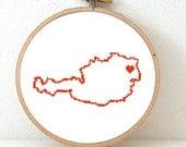 AUSTRIA Map Cross Stitch Pattern. Austria Hand Embroidery pattern with Vienna. Austria poster. Austria art. Austrian cross. Österreich karte