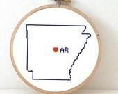 ARKANSAS Map Cross Stitch Pattern. Arkansas state embroidery pattern. Arkansas ornament pattern with Little Rock. AR decor.