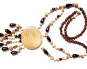 Wooden Necklace sunflower. Handmade wooden jewelry. Organic beads