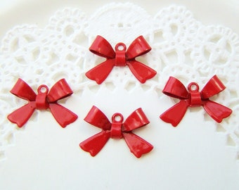 Cherry Red Enamel Metal Bow Connector Charm Drop  - 8