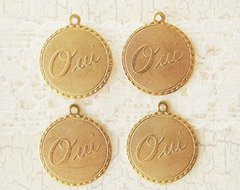 Romantic Raw Brass Oui Yes  Charm Word Pendant 19mm Round - 4
