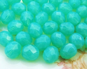 Czech Glass Faceted Milky Green Opal 8mm Coated Beads - 20