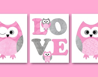 Kids Wall Art Owl Nursery Owl Decor Baby Nursery Art Decor Baby Girl Nursery Kids Art Rose Grey Baby Room Decor Nursery Print set of 3