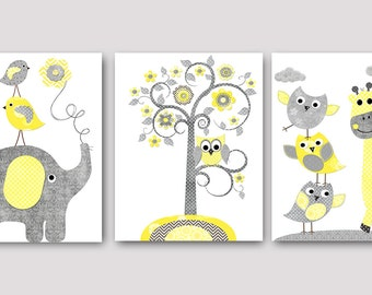 Kids Wall Art Elephant Nursery Giraffe Nursery Baby Boy Nursery Art Print Children Wall Art Baby Room Decor Yellow Kids Print set of 3
