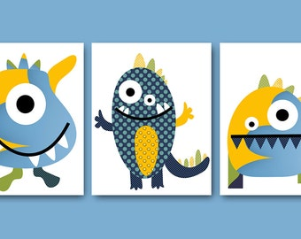 Childrens Art Kids Wall Art Kids Art Baby Boy Room Decor Baby Boy Nursery Kids Room Decor Baby Nursery Prints set of 3 Monsters Yellow