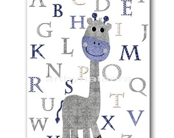 Kids Wall Art Kids Art Giraffe Nursery Alphabet Nursery Art Decor Baby Boy Nursery Art Baby Room Decor Nursery Print Boy Print Gray Navy