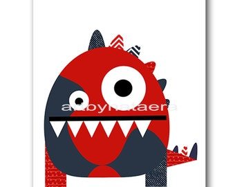 Monster Nursery Kids Art Kid Room Decor Baby Nursery Decor Children Art Kids Wall Art Baby Boy Nursery Room Decor Nursery Print Red Navy