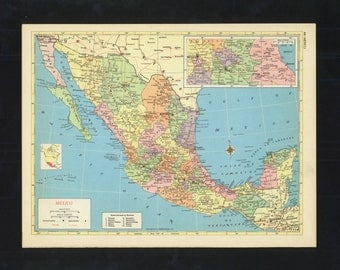 Vintage Map Mexico From 1953 Original