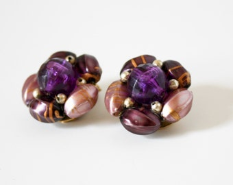 Vintage Purple Lilac Gold Bead Cluster Earrings Clip Ons Hong Kong