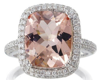 White Gold 12x10 mm CUSHION Morganite Ring