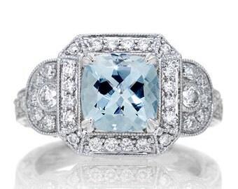 White Gold Aquamarine Vintage Style Halo Three Stone Engagement Anniversary Band Wedding Ring