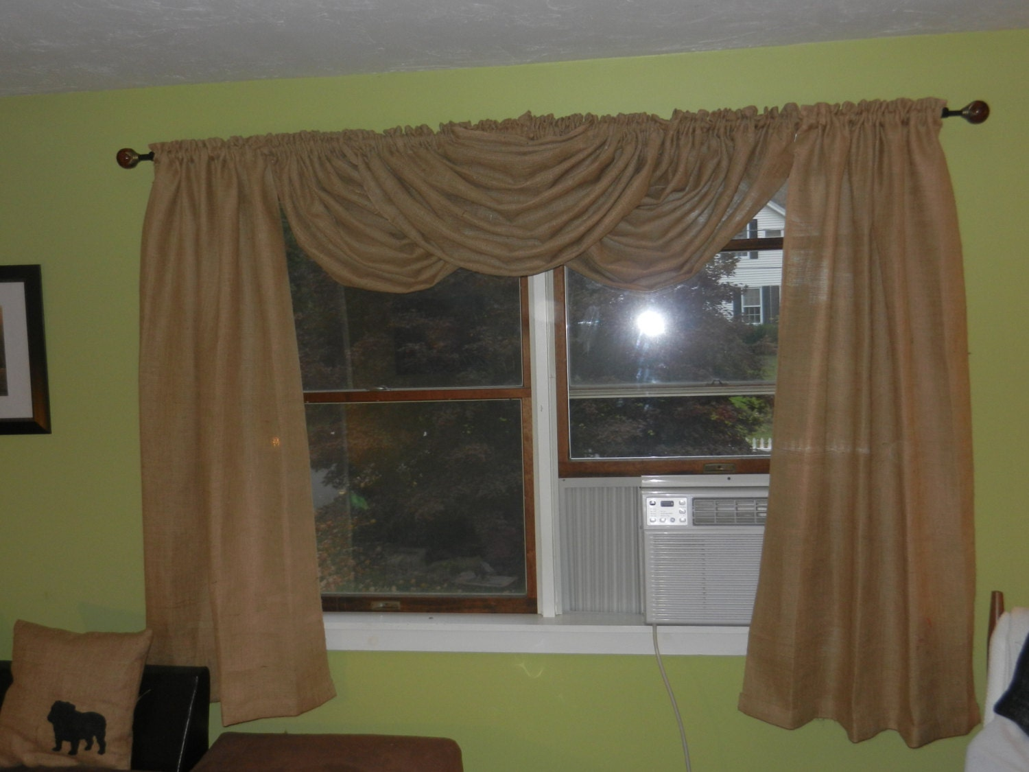 Burlap Drapes With Waterfall Valance