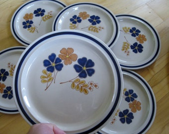 Vintage Newcor Handpainted Salad Plates  Reflection pattern  Very good Set of 2 included TWO included