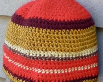 Inspired by woven table runner, Red Gold blend Handmade crochet beanie hat