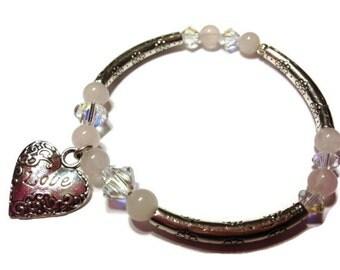 Love Bracelet, Bangle Bracelet, Valentines Jewelry,  Heart Bracelet, For Her