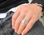 kabbalah blessing spinner ring 925 sterling silver  wedding band artisan lot luck ring
