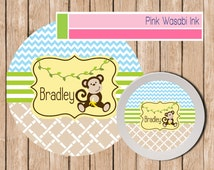 Monkey Plate and Bowl Set Personalized Childrens Plate and Bowl Set Melamine Dinnerware Toddler Plate MONKEY BOY