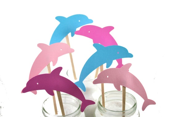 12 Pink Dolphin Cupcake Toppers Dolphin Birthday Party