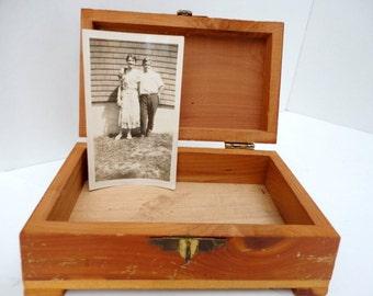 Vintage Wood Cedar Box Souvenir Mini Cedar chest 1960s