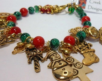 Sale, Holiday Bracelet, Colorful Holiday Charm Bracelet, Christmas Charm Bracelet,