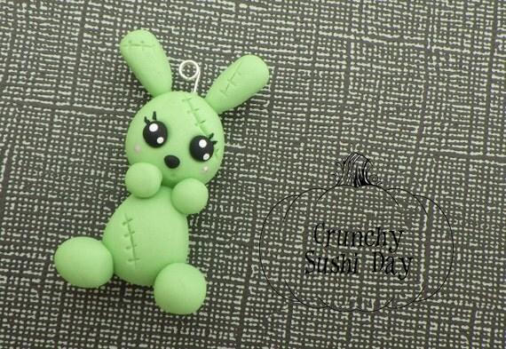 Zombie Bunny Polymer Clay Pendant, Polymer Clay Bunny, Zombie Charm, polymer clay, clay pendant, Kawaii, Chibi, Zombie, Bunny