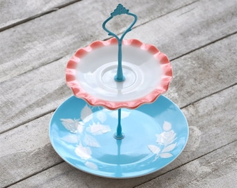 Cake Stand-- Cupcake Display,Audrey: Baby Shower Pastry Tray Gender Unknown, Pink and Blue, Vintage Milk Glass, Cupcake Stand, Decoration