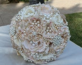 BLUSH ROSE GOLD - Deposit for a made to order Brides Bouquet - Custom Beautiful Blush Pink Gold and Rose Gold Bridal Brooch Bridal Bouquet,