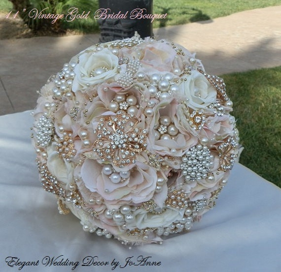 wedding bouquet pins vintage gold bridal bouquet beautiful blush pink and gold 8476