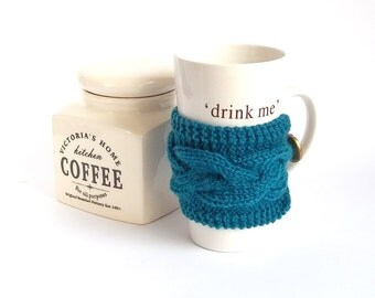 Teal Coffee Cup Cozy. Knitted Mug Cozy. Knit Tea Cup Cosy.