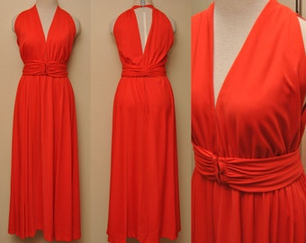 80s Red Marilyn Monroe Style Sleeveless Dress Vintage Womens 12